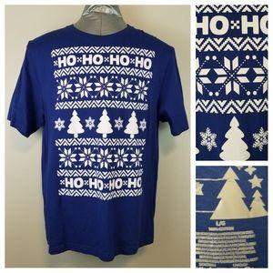 Christmas T-Shirt L Blue White Ho Ho Ho Fair Isle